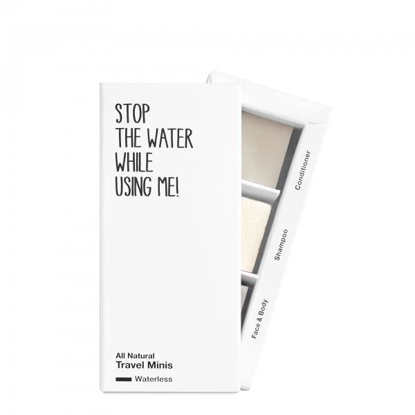 stop the water while using me All natural Travel Minis Waterless, 2x8g; 1x10g