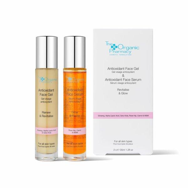 The Organic Pharmacy Revitalise & Glow Duo, Anti Oxidant Face Gel & Serum 1 Stück