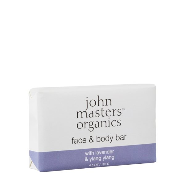 John Masters Organics face & body bar with lavender & ylang ylang, Seife 128g