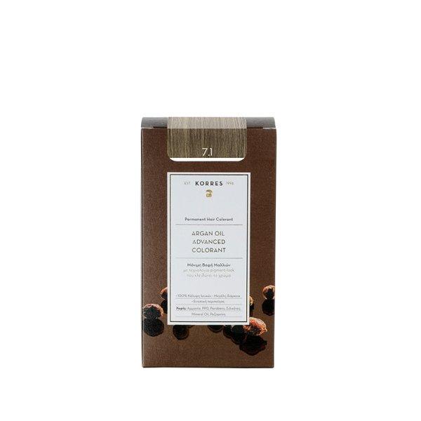 Korres Advanced Argan Oil Permanent Hair Colorant 7.1 Haarfarbe Aschblond
