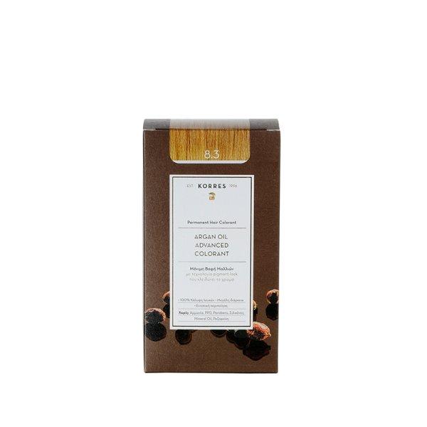 Korres Advanced Argan Oil Permanent Hair Colorant Golden Honey 8.3, Haarfarbe Honigblond