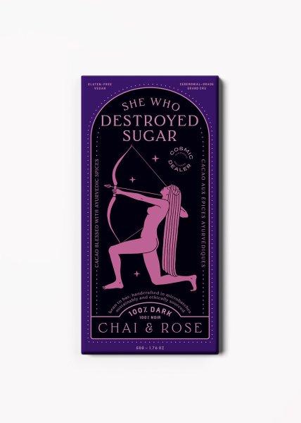 Cosmic Dealer She Who Destroyed Sugar 100% Dark - Chocolate Chai & Rose, Dunkle Schokolade 50g