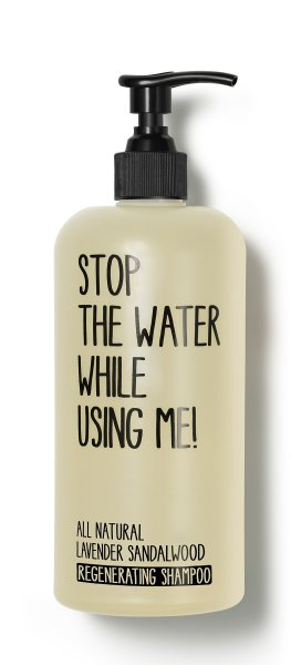 stop the water while using me All Natural Lavender Sandalwood Regenerating Shampoo, Shampoo 200ml