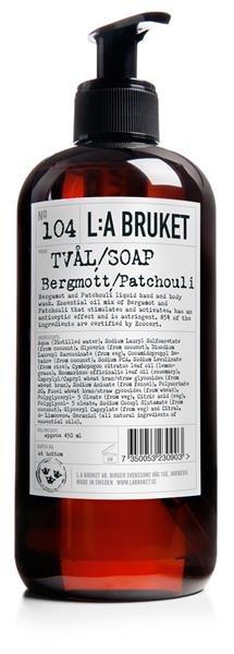 L:a Bruket No. 104 BERGAMOTT/PATCHOULI TVAL, Flüssige Seife/Duschgel Bergamotte/Patchouli KLEIN 240ml