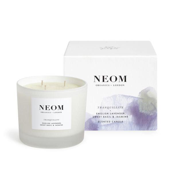 Neom Organics Candle Tranquility/Perfect nights sleep, Duftkerze Lavendel, süßem Basilikum & Jasmin 3 Dochte 420g