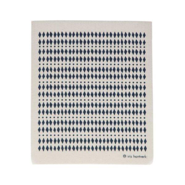 Iris Hantverk Household Cloth Blue&White, Spüllappen Diamant BLAU/WEIß 1 Stück