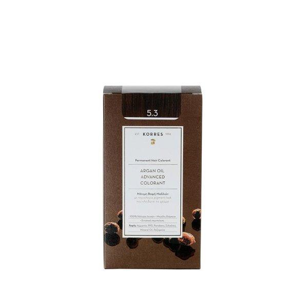 Korres Advanced Argan Oil Permanent Hair Colorant 5.3 golden/ honey light brown, Haarfarbe