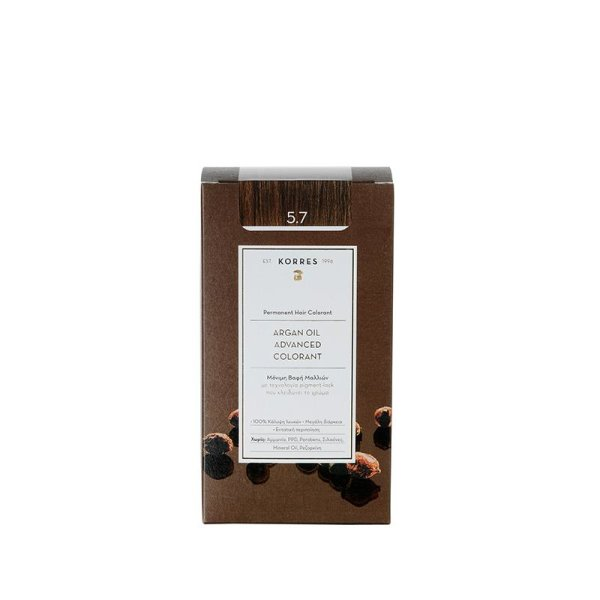 Korres Advanced Argan Oil Permanent Hair Colorant 5.7, Haarfarbe Schokobraun hell