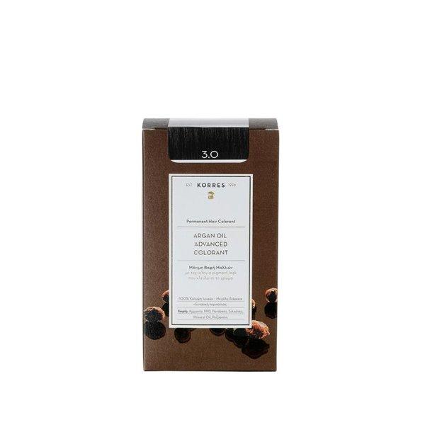 Korres Advanced Argan Oil Permanent Hair Colorant 3.0, Haarfarbe dark brown