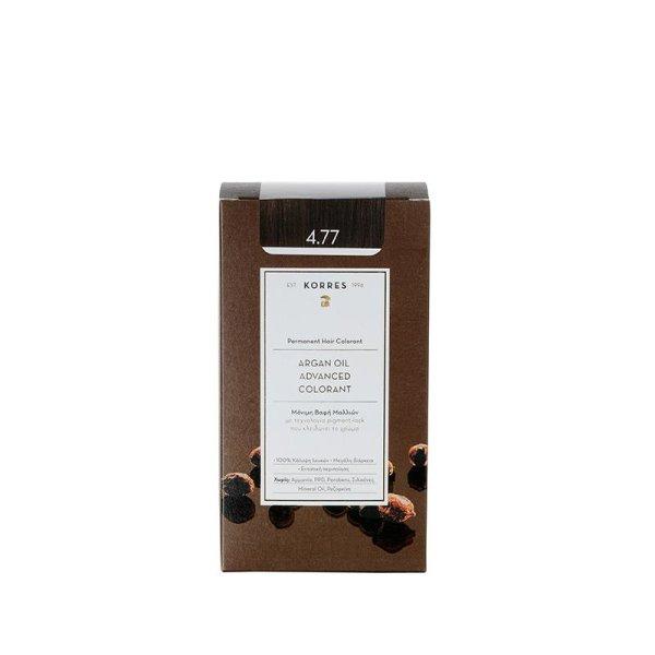 Korres Advanced Argan Oil Permanent Hair Colorant 4.77, Haarfarbe dark choco