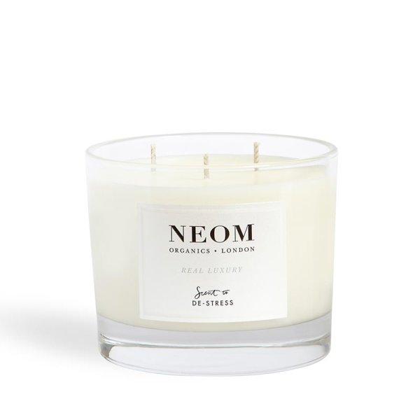 Neom Organics Real Luxury Candle, Duftkerze mit drei Dochten 420g